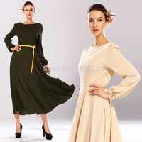 2014 Autumn Winter Women Original Design Fashion  O-neck Long Sleeve Long Maxi Full Length Tank Beach Holiday Dresses and Belt