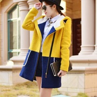 FREE SHIPPING Winter women long sections style   patchwork wool & Blends jacket/coat wool warm overcoat casual dress 2014