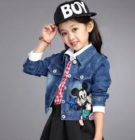 2014 autumn children's denim outerwear flower girl's cardigan baby short design kids denim coat minnie mouse outerwear