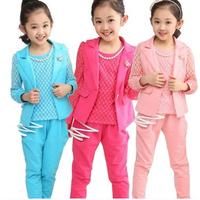 Retail 1 set Children girls brand clothing set spring autumn 2014 High quality fashion lace coat  jacket +t shirts+ pants 3 pcs