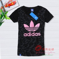 2014 spring and summer sports t-shirt female short-sleeve sports short-sleeve t-shirt sports t-shirt 100% cotton