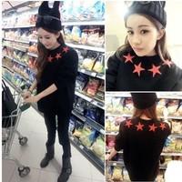 New 2014 Autumn Korean Fashion Women Casual Stars Print  Loose Hoodies Pullovers Long-sleeved O-neck Sweatshirt Girl t shirt 807