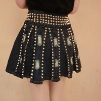 Fashion punk street high quality metal rivet distrressed denim pleated skirt short skirt a-line skirt