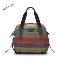 You Young!!!Women's bags 2014 fashion canvas bag color block patchwork shoulder bag B209