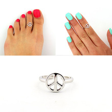 3pcs Womens Personality Retro Silver Anti-war Peace Sign Toe Ring Foot Finger Jewelry