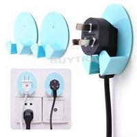 2014 Brand New Household Storage Holders Racks 2 Pcs Home Office Wall Adhesive Plastic Power Plug Holder