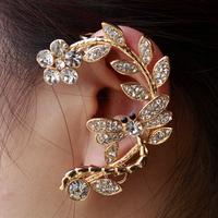 Women Clip Earring Fashion New Luxury Flower Rhinestone Ear Cuff Rose Gold Crystal Women Earring Free Shipping