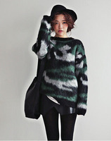 Top Sale! 2014 New Autumn Winter Women/Lady Plus Size Knitwear Long sleeved Sweater Leopard Thickening Pullover A11