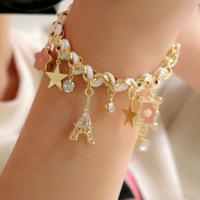 Min Order is $10(mix order)Free Shipping Women Fashion Poker Stars Flowers Leather Rope Paris Eiffel Tower Crown Bracelet(LS162)