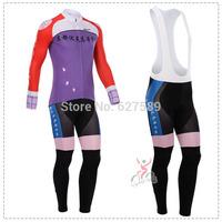 cyclingbox 2014 Thermal Fleece Cycling Jersey bib kit long Sleeve bib pants Cycling thight ropa Ciclismo fitness clothes Maillot