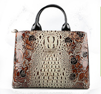The new 2014 patent leather crocodile grain rose handbag fashion female package