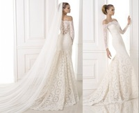 qn-120 new custom made elegant beads long sleeve off shoulder backless floor length lace wedding dress china bridal gown 2014