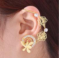Free Shipping Fashion New Rose Gold Luxury Punk Earrings Women Rhinestone Clip Earring Hollow Flower Ear Cuff Fashion Earrings