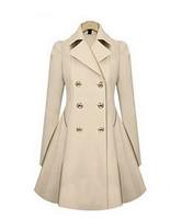 2014 New Designer Fall/Winter High quality Coat Women Clothing Classic Lapel Double Pocket Longline Wool Oversized Coat