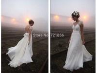 qn-127 new custom made beads appliques bow sash v-neck short  sleeve open back long chiffon wedding dress bridal gown 2014