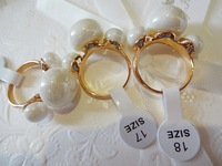 HOT SALE Top Quality Fashion Women Three Pearls Shell Gold Plated Finger Ring 3sizes
