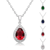 [Arinna Jewelry] Fashion wedding Austrian rhinestone water drop crystal pendant necklace for woman N1670