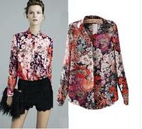 2014 new women fashion blouse Retro printed chiffon long-sleeved shirt European and US style hot sale size S-XL free shipping