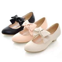 New 2014 Sweet Bow Mary Jane Women Pumps Fashion Round Toe Thick Heel Women High Heel Shoes Sexy Wedding Shoes Sapatos Femininos