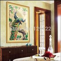 56*58cm diy painting 5D diamond diamond embroidery, flowers rich peacock figure, DIY painting free shipping