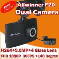 "Car Dvr Video Recorder Allwinner F20  FHD 1080P+ 2 Dual Camera + 2.7"" HD Screen+ 30FPS+G-Sensor+Night Vision+140 Wide Angle"