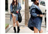 2014New Fashion Women Lady Denim Trench Coat Hoodie Hooded Outerwear Jean Jacket