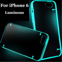 10pcs/lot Light Glow in the Dark Night Luminous Transparent case cover for iPhone 6 4.7""