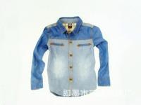 2014 new fall denim shirt baby clothing in the children's children's wear long-sleeved denim shirt