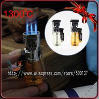 Aomai Triple Flame Clear Gas Tank Windproof Cigar Cigarette Butane Gas Torch Lighter