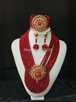 New Design Multistrand Nigerian Wedding Jewelry Set With Rhine   Flower Women African Beads Jewelry Set BJ15359