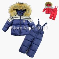 1 set Children's winter clothes set Boy's girls Ski suit sport sets windproof warm coats fur collar Jackets +suspenders trousers