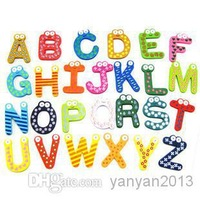 Wholesale - Retail Fridge Magnet Child Colorful 26 Letters shape Learning Wooden Magnetic Toddler Children Toys