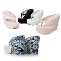 New Women Platform Wedge Slippers Fashion Leopard Print Wedge Flip Flops Plus Size High Heels Wedges Summer Shoes Beach Slippers