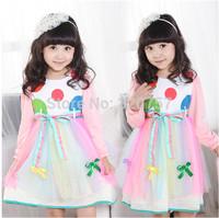 Retail 2014 spring Autumn Kids  girl fashion  Rainbow Yarn Bow length sleeve princess rone piece dress QY132, fit 3-12year