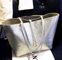 Free shipping 2014 Casual women's handbag stripe canvas bag chain tassel hangings handbag fashion bag KKX151