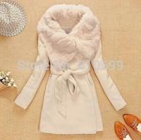 Fashion Women Faux Fur Trench Jacket Beige Warm Wool Cloak Outcoat Mid-Long Style