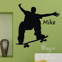 [B.Z.D] 2014 Free Shipping DIY Skateboard boy Personalized Name Art Decals Home Decor Vinyl Wall Sticker for Kids Rooms56x54cm