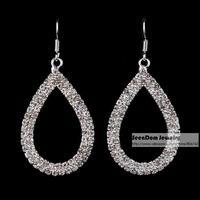 SeenDom Women Dress Jewelry Silver & Gold Color Rhinestone Drop Brincos Quality Crystal Waterdrop Earring SCE082