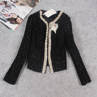 New fashion 2014 hot sale quality brand channel winter Autumn pearl diamond sequined women woolen coat luxury slim coat