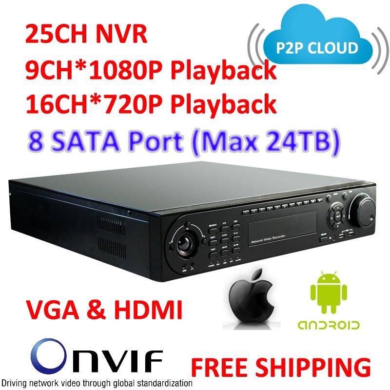 TVision CCTV, Onvif , P2P Cloud NVR, 25CH NVR, VGA & HDMI Output, 8 SATA Port High Performance CCTV IP Recorder(China (Mainland))