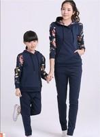2014 Autumn New In Sleeve Floral Print Korean Style  Family Hoodies Swetashirt+Pants Clothing Set