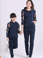 2014 Autumn New In Sleeve Floral Print Korean Style  Family Hoodies Swetashirt+Pants Clothing Set