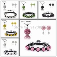 10X Shamballa Jewelry Set Necklace+Earrings Studs Clay Crystal Diaco Ball Fashion Jewelry Set Snake Chain Option Free Shipping