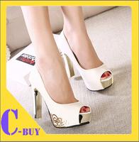 Free shipping 2014 2014 Square High Heels Shoes Women Fashion Pumps Sexy Open Toe Platform Black White Shoes