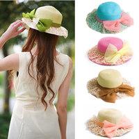 Hot!New summer Sweet Straw Hats Floral Lace Yarn Bow Elegant Sun Hat Summer Beach Headwear Blue and Pink chapeu feminino