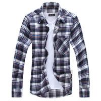 Free shipping 2014 hot sale new arrive autumn cotton slim long sleeve men shirts fashion casual plaid shirt men plus size M~XXL