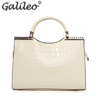bolsas femininas 2014 Classic women handbag patent leather alligator print bags handbags women famous brands white black blue