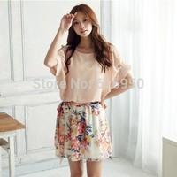 Summer Chiffon floral dress elegant women dress Impreaaion nip sleeve patchwork dress with belt whole sale price  Free shipping