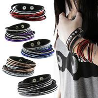 New 2014 Fashion 6 layer Shiny Rhinestone Leather Austrian Crystal Bracelets&Bangles for Women 37cm long