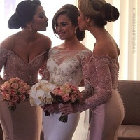 Beautiful mermaid bridesmaid dresses! Sexy V neck long sleeves shiny beaded buttons backless gown custom made bridesmaid dresses